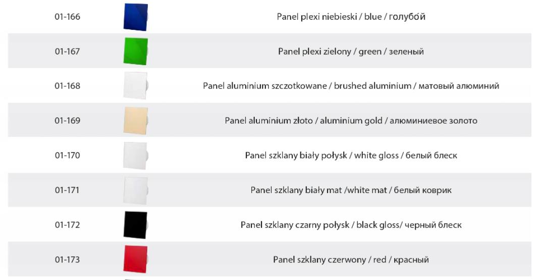 Panele ozdobne do wentylatorów łazienkowych Przesłony wentylatora